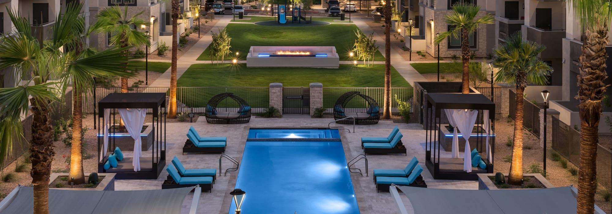 northern view of pool at Aviva in Mesa, Arizona