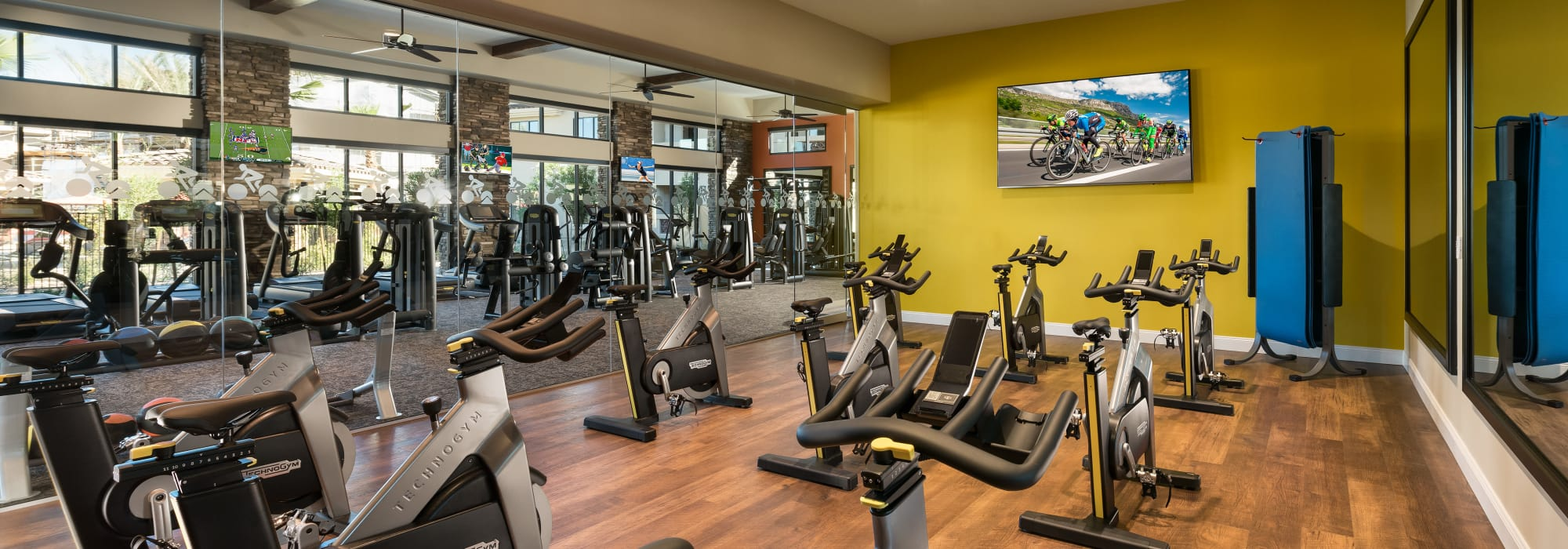 Spin class room at San Piedra in Mesa, Arizona