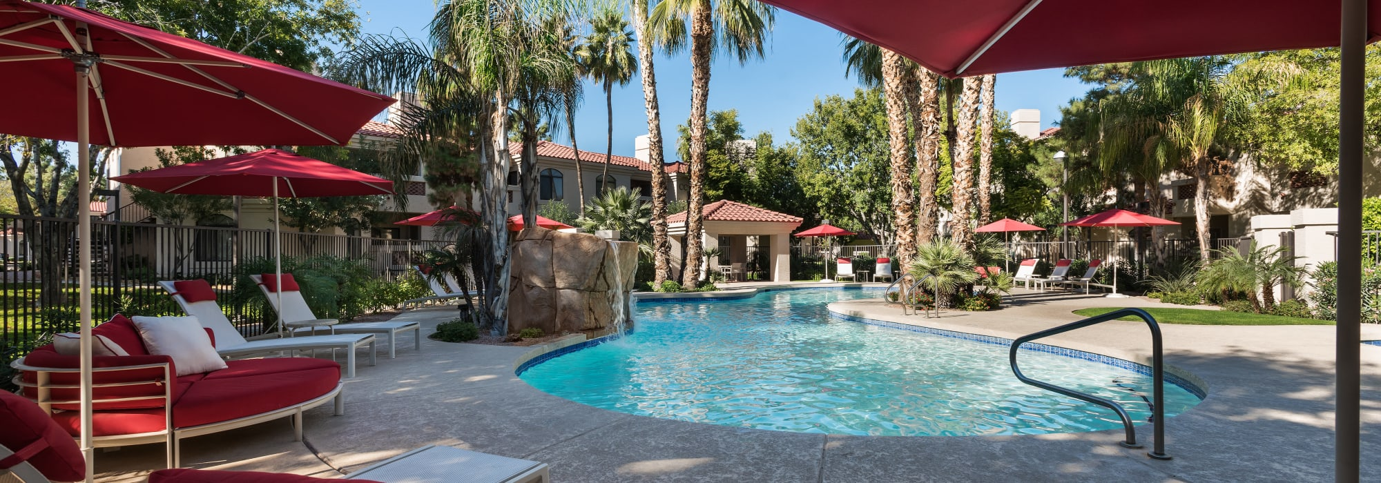Secondary swimming pool area with plenty of shaded seating nearby at San Palmilla in Tempe, Arizona
