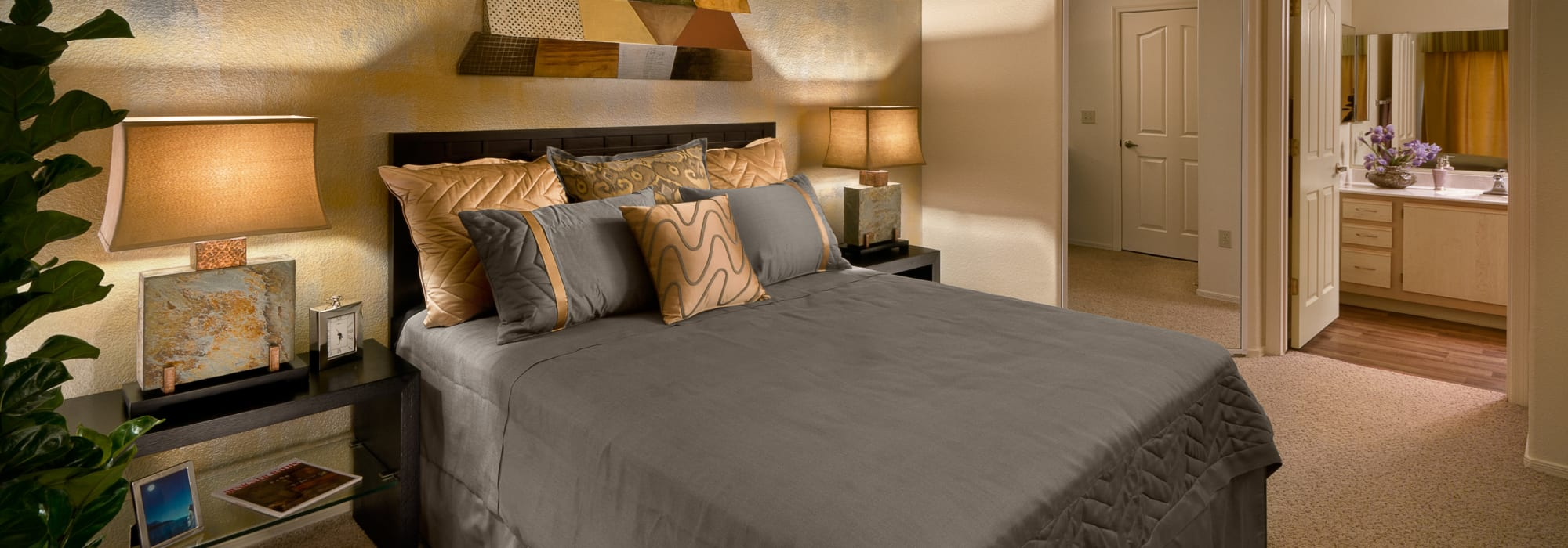Gorgeously decorated master bedroom in a model home at San Palmilla in Tempe, Arizona
