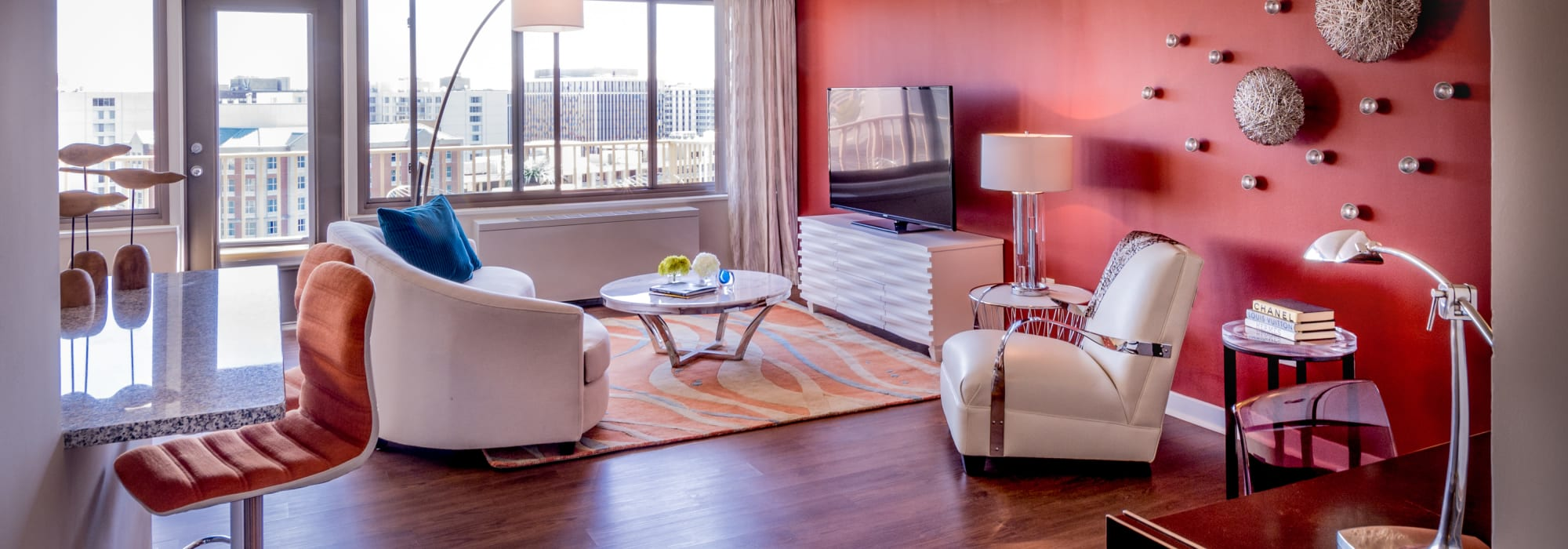 Modern decor living room at Crystal House in Arlington, Virginia