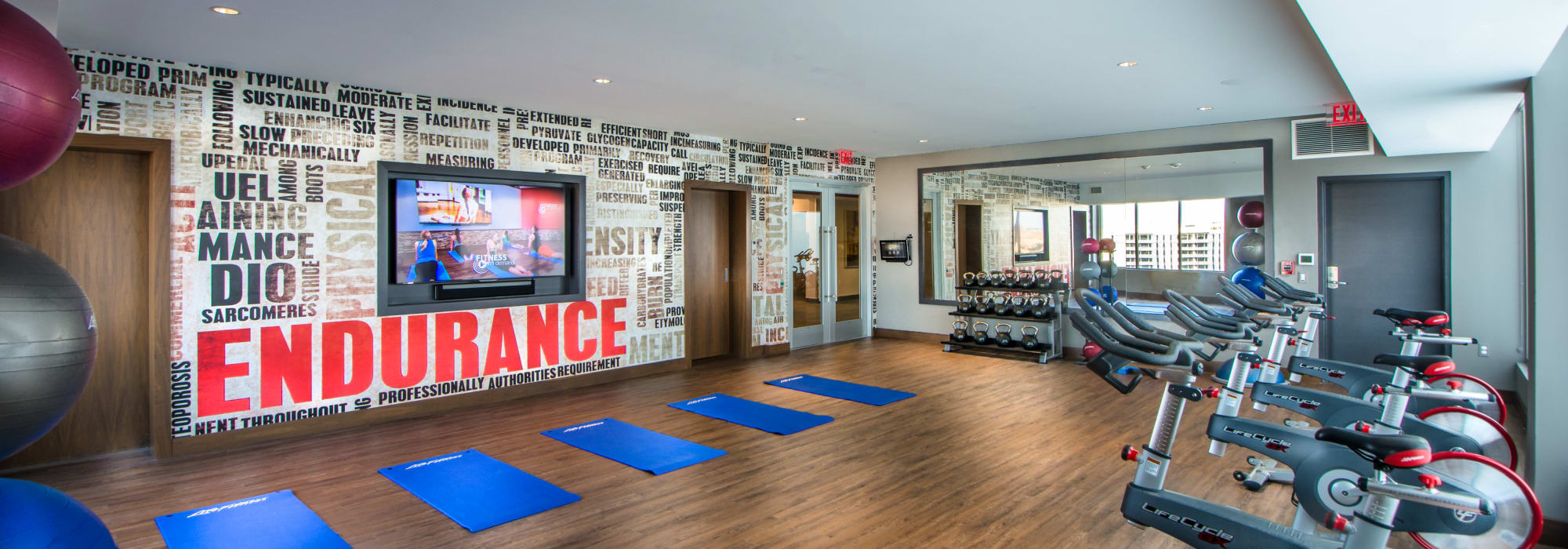 Workout room at Crystal House in Arlington, Virginia