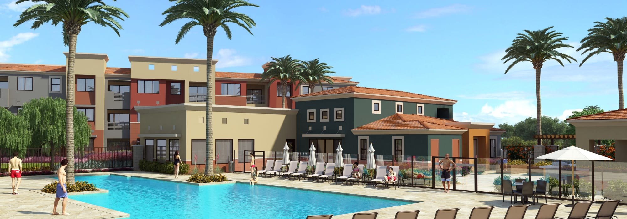 Spacious pool with sundeck and plenty of lounge chairs at Villa Vita Apartments in Peoria, Arizona