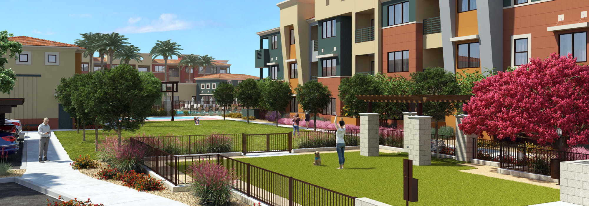 Rendering of large grass lawns, and beautiful manicure grounds at Villa Vita Apartments in Peoria, Arizona