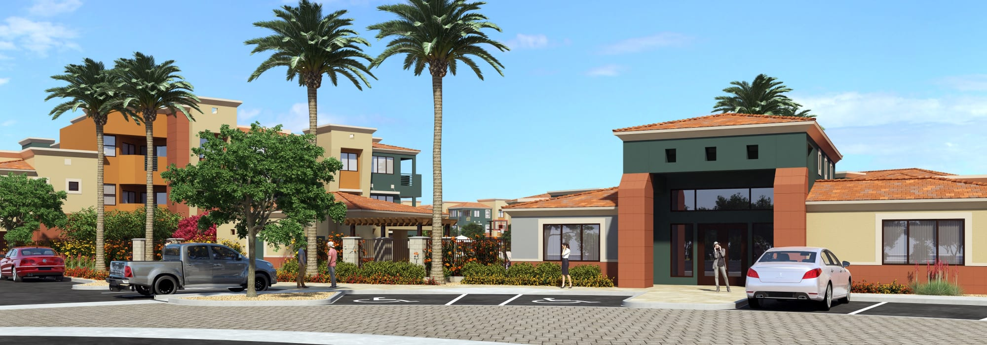 Resort-style front entrance at Villa Vita Apartments in Peoria, Arizona