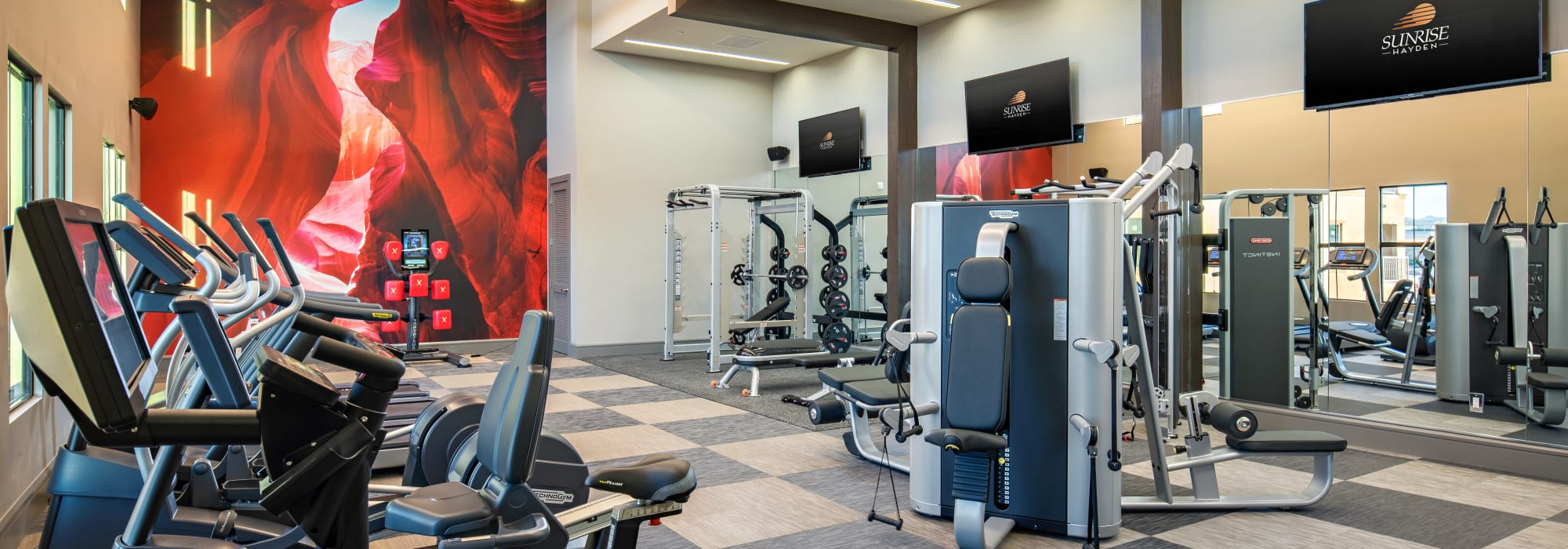 Very well-equipped onsite fitness center at The Core Scottsdale in Scottsdale, Arizona