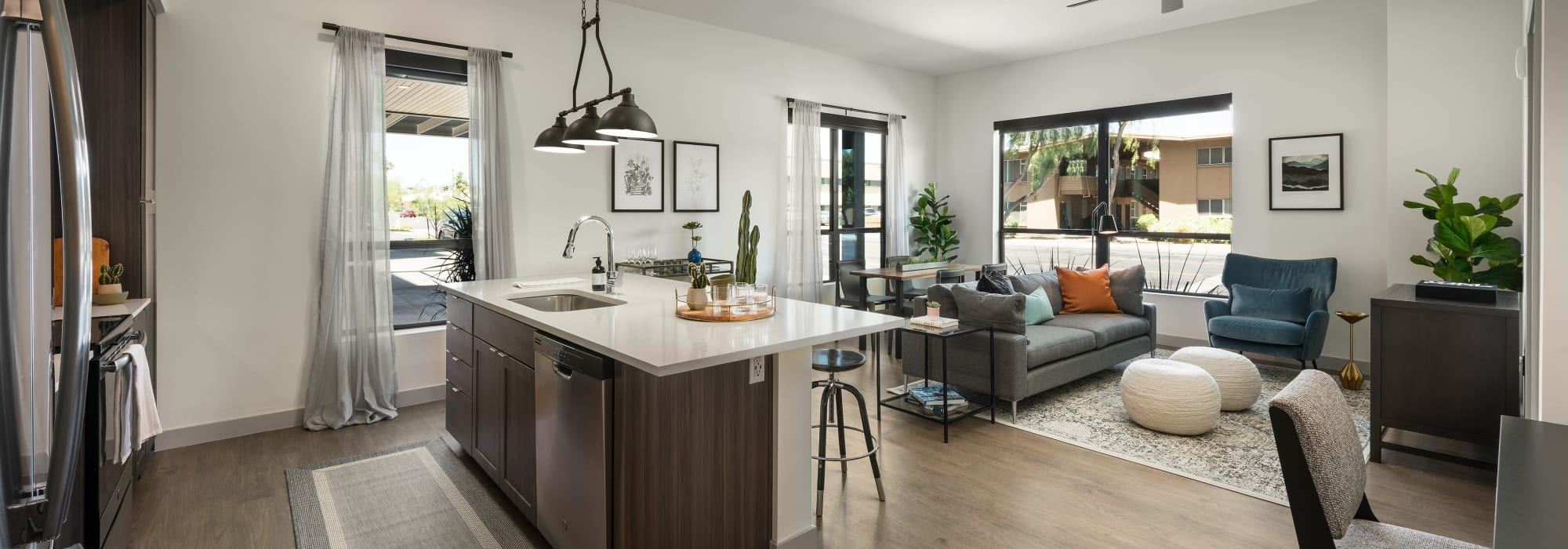 Spacious Kitchen and living room at The Astor at Osborn in Phoenix, Arizona
