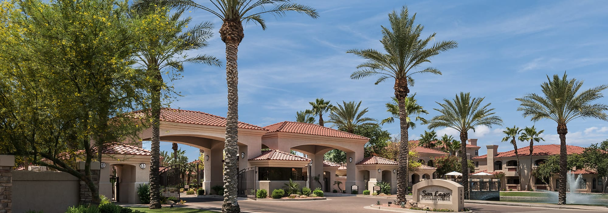 Apartment community entryway at San Lagos in Glendale, Arizona