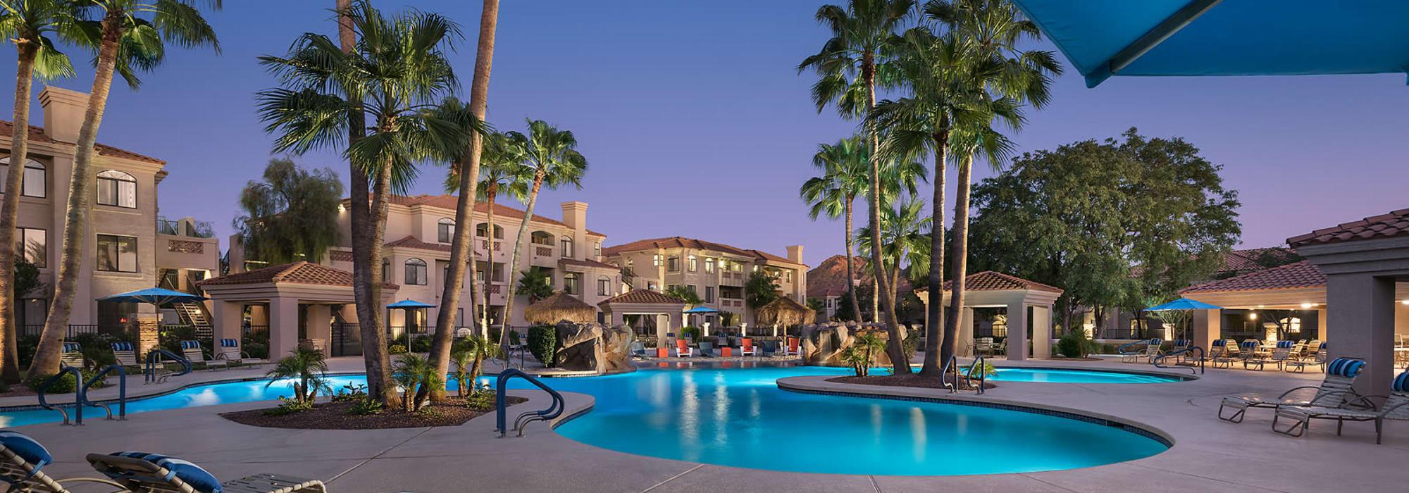 Gorgeous swimming pool area at San Pedregal in Phoenix, Arizona