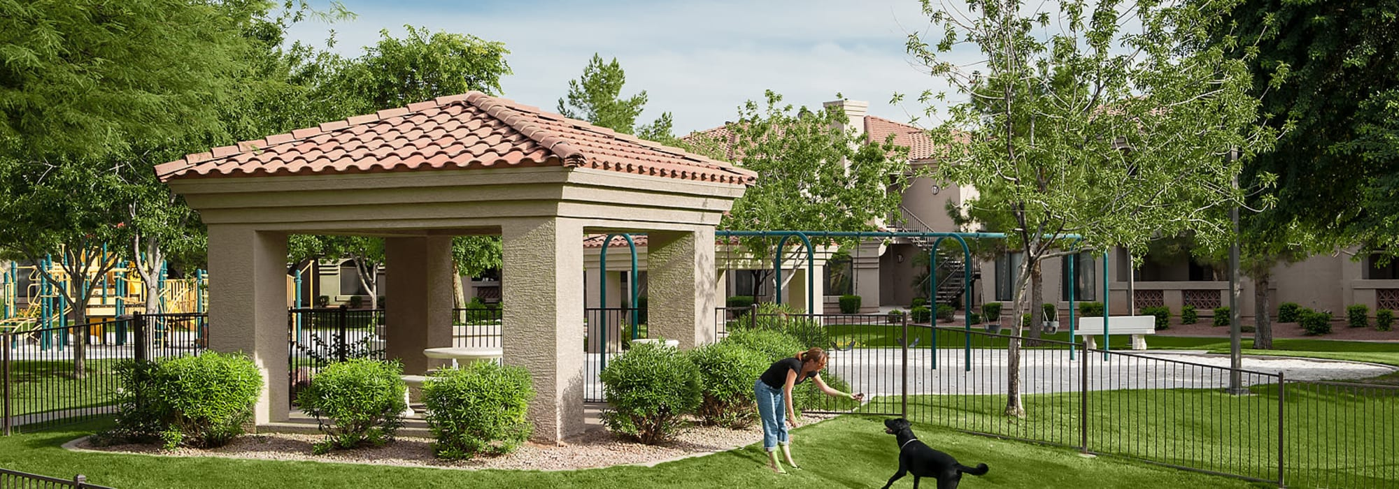 Onsite dog park with green grass at San Pedregal in Phoenix, Arizona