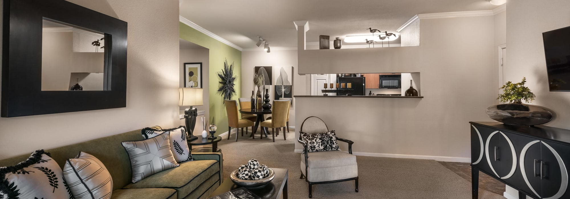 Apartments with living rooms with open floor plans at Azul at Spectrum in Gilbert, Arizona