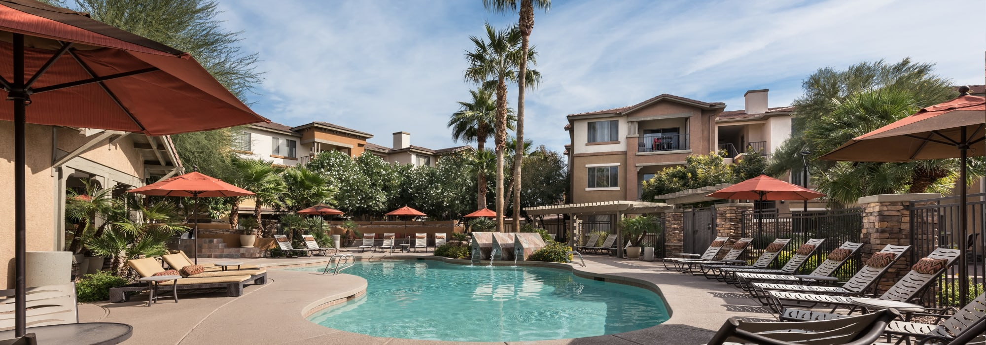 Poolside lounger chairs at Borrego at Spectrum in Gilbert, Arizona