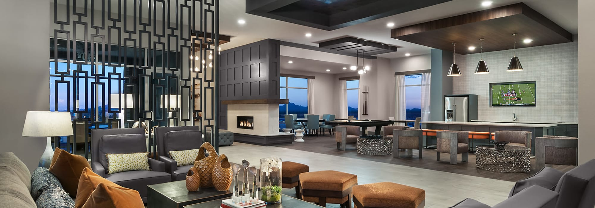 High end club room at The Halsten at Chauncey Lane in Scottsdale, Arizona
