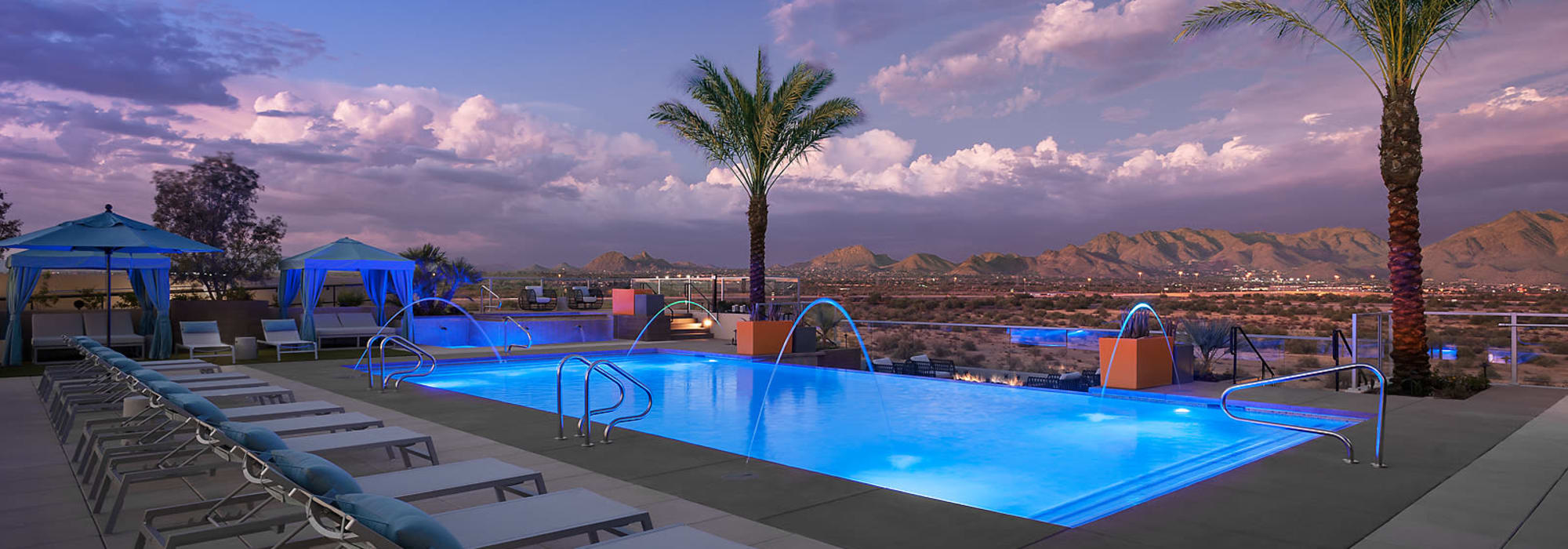 Pool at dusk at The Halsten at Chauncey Lane in Scottsdale, Arizona