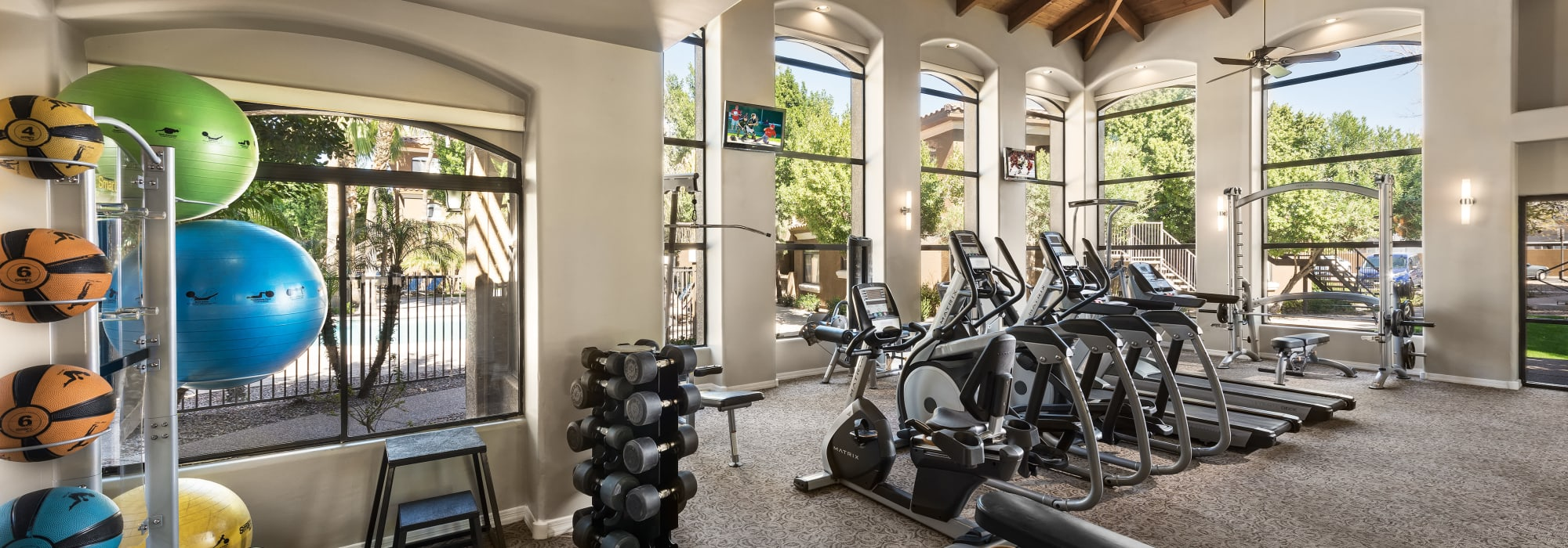 Modern fitness center at The Retreat at the Raven in Phoenix, Arizona