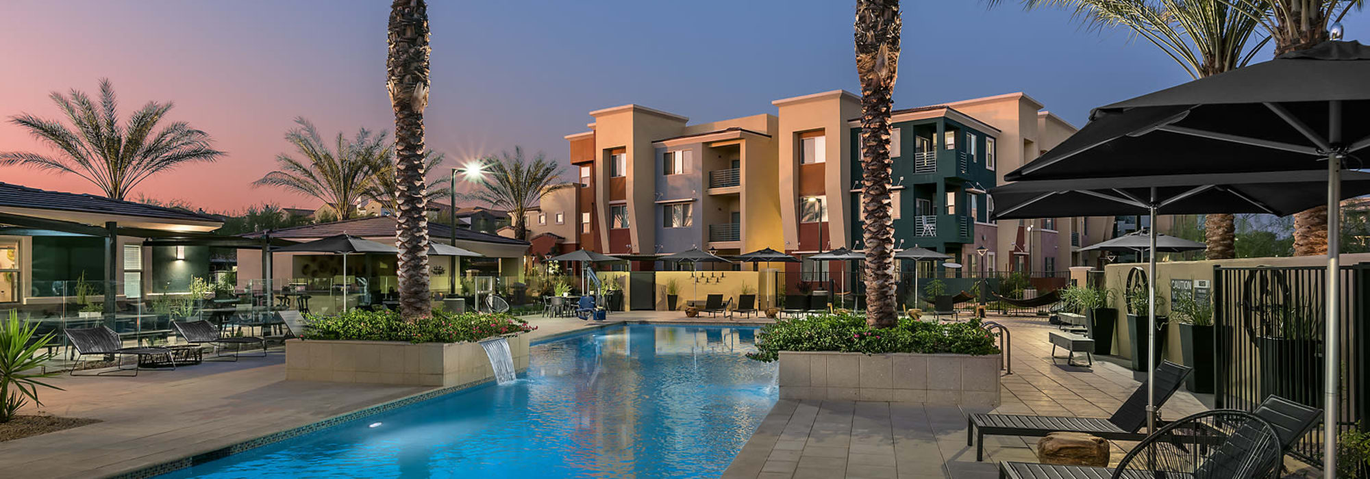 Sparkling blue pool at Villa Vita Apartments in Peoria, Arizona