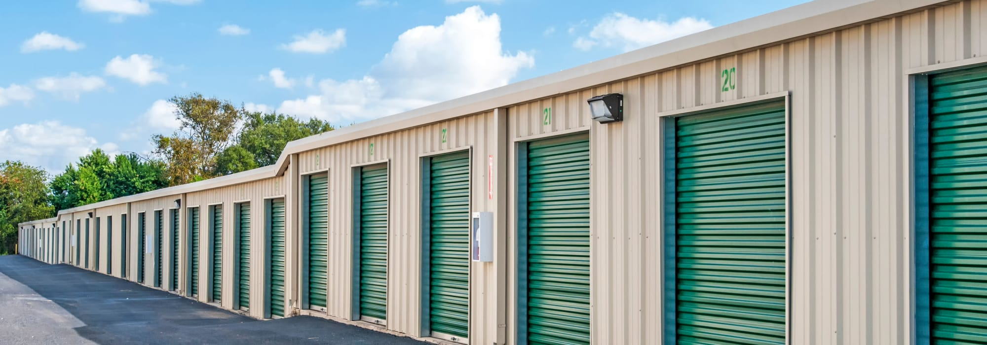 The drive-up storage units available for rent at Lockaway Storage in San Antonio, Texas
