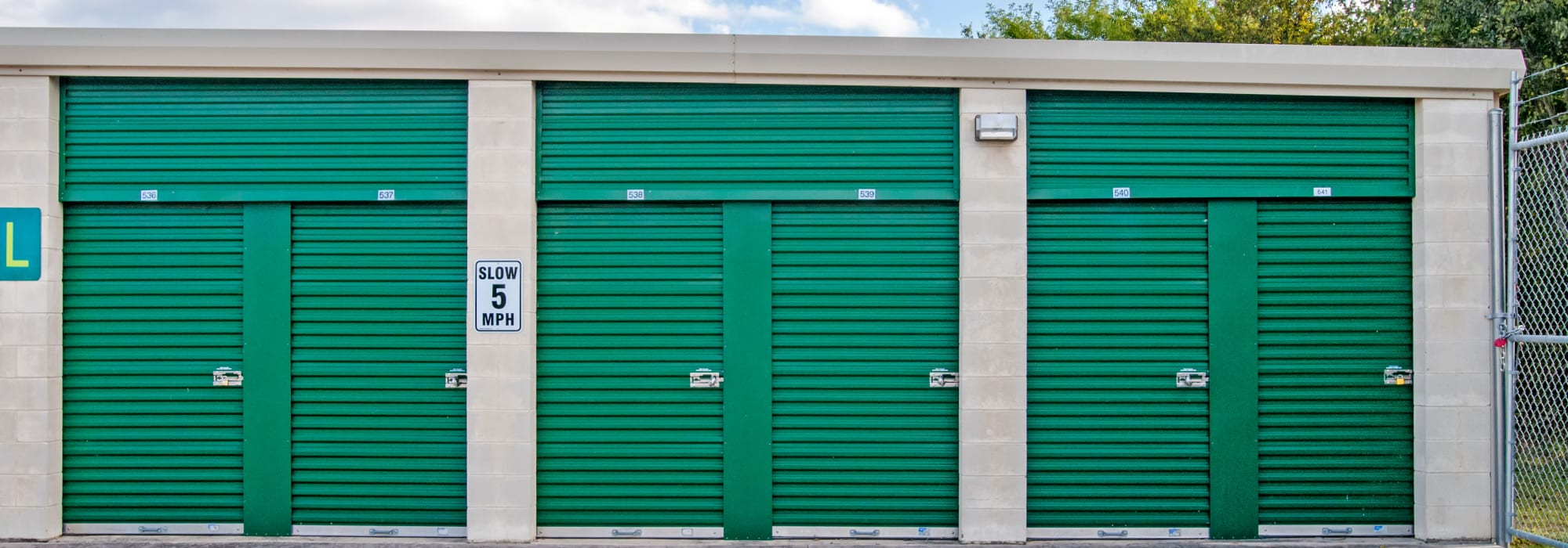 Drive-up storage lockers available for rent at Lockaway Storage in San Antonio, Texas