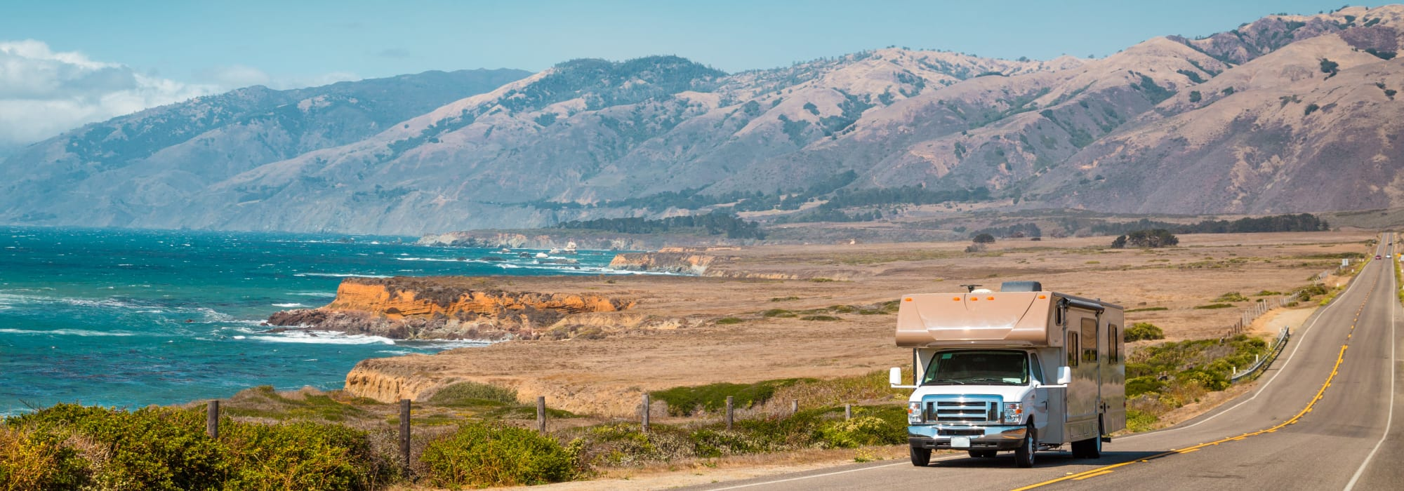 An RV on a coast drive near Smart Self Storage of Eastlake in Chula Vista, California
