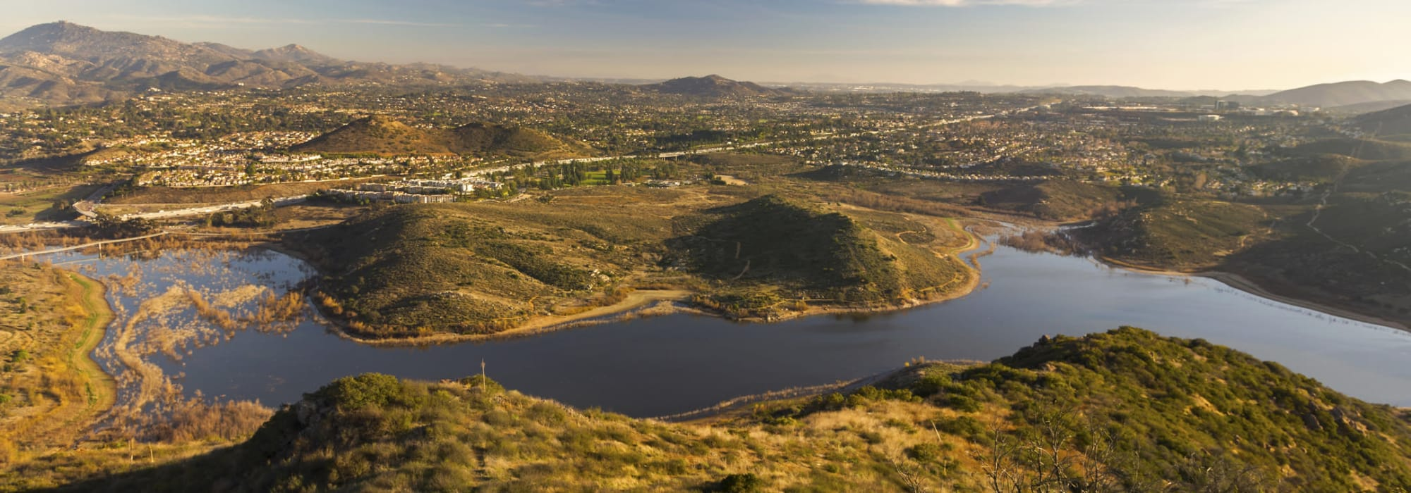 A view of Lake Hodges near North County Self Storage in Escondido, California