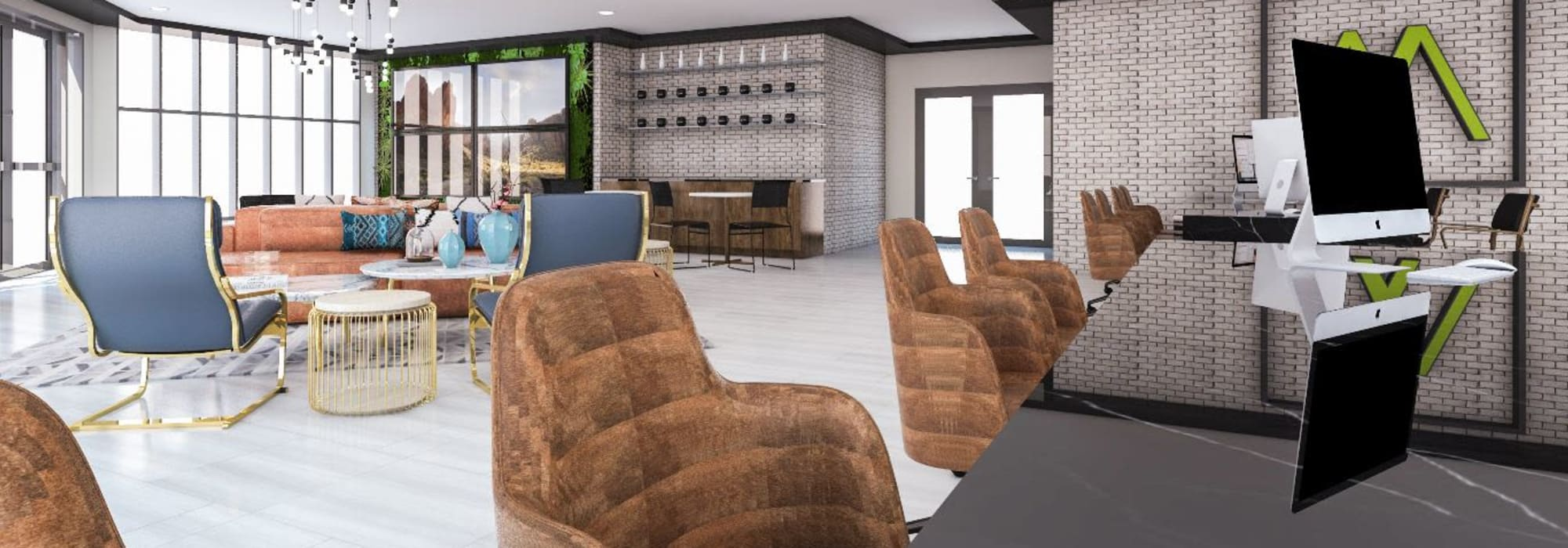 Modern leasing office with great seating options at Tempe Metro in Tempe, Arizona