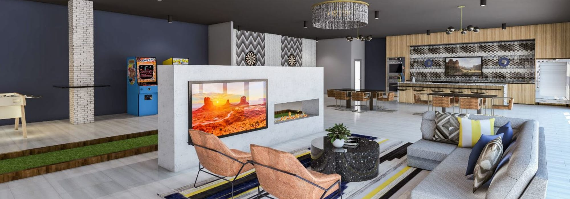 Clubhouse area with fire place and TV at Tempe Metro in Tempe, Arizona