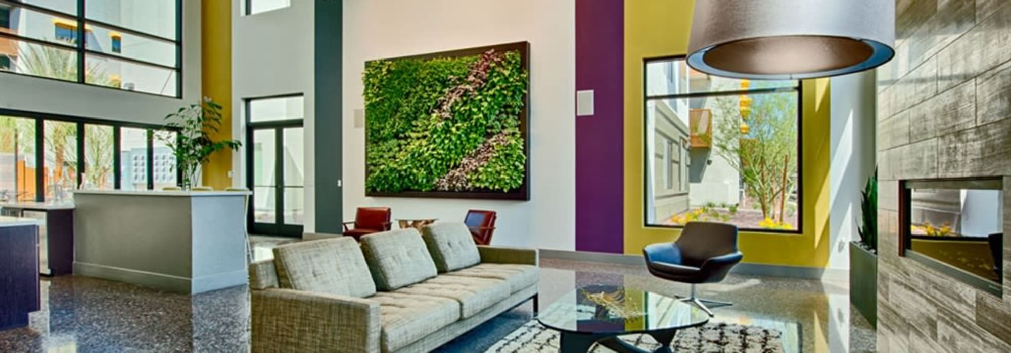 Indoor lounge and community area at Cactus Forty-2 in Phoenix, Arizona