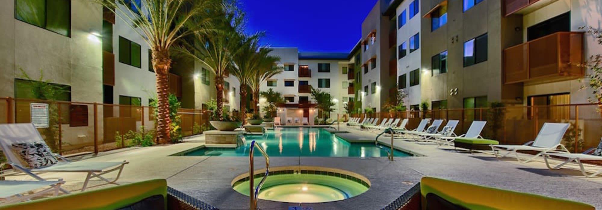 Pool hangout area at Cactus Forty-2 in Phoenix, Arizona