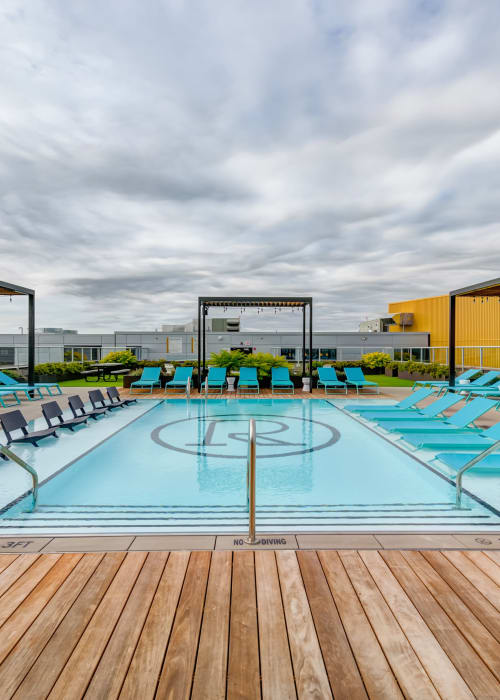 Resort-style swimming pool at RISE on Chauncey in West Lafayette, Indiana