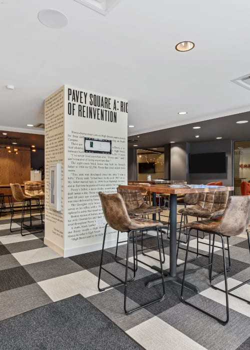 Cool area in the clubhouse where students can relax or study at The View on Pavey Square in Columbus, Ohio