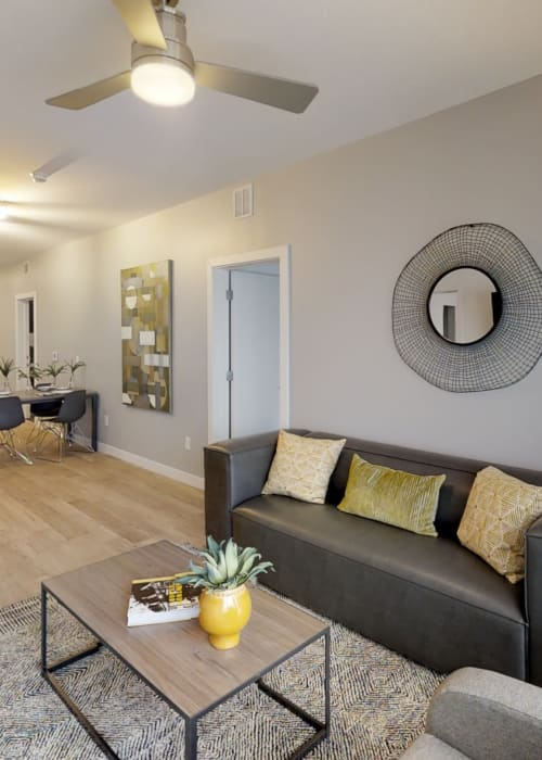 Comfortable living room with large area rug and ceiling fan to stay cool at The View on Pavey Square in Columbus, Ohio