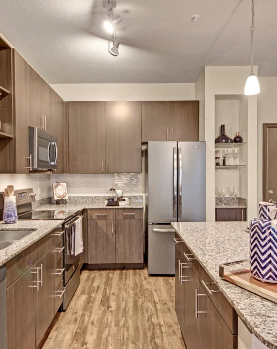 Modern kitchen with stainless steel appliances at The Courtney at Lake Shadow in Orlando, Florida