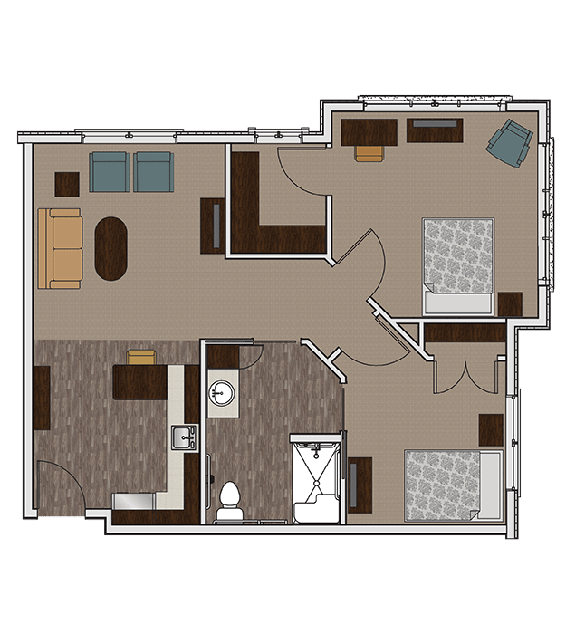One bedroom assisted living apartment at Stonecrest of Wildwood