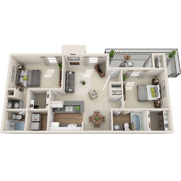 2 Bedroom Floor Plan - B1