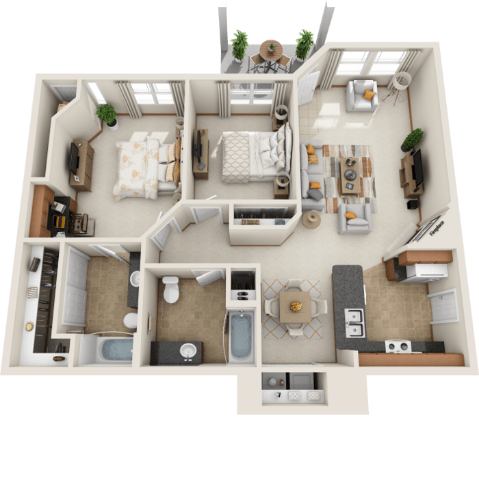 2 Bedroom Floor Plan - C