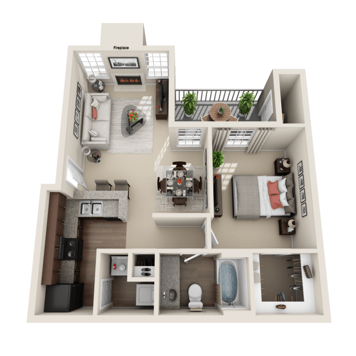 1 Bedroom Floor Plan - Genoa Layout