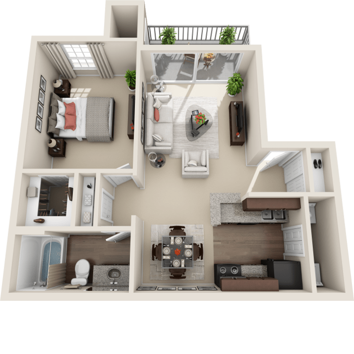 1 Bedroom Floor Plan - Naples Layout