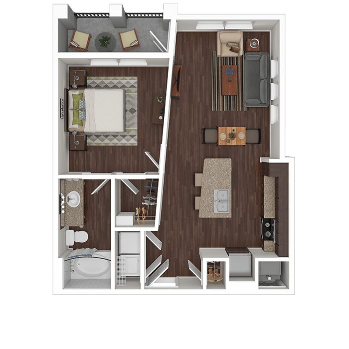 The Onyx floor plan at Boulders at Overland Park Apartments in Overland Park, Kansas