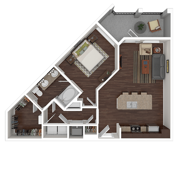The Quartz floor plan at Boulders at Overland Park Apartments in Overland Park, Kansas
