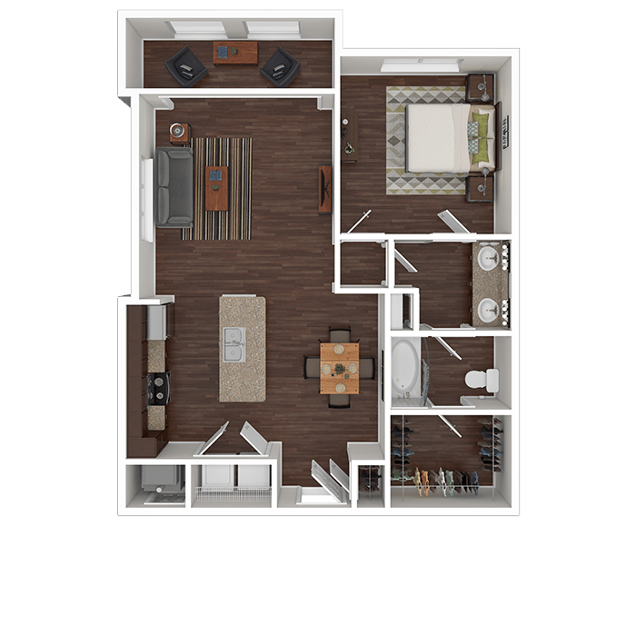 The Opal floor plan at Boulders at Overland Park Apartments in Overland Park, Kansas