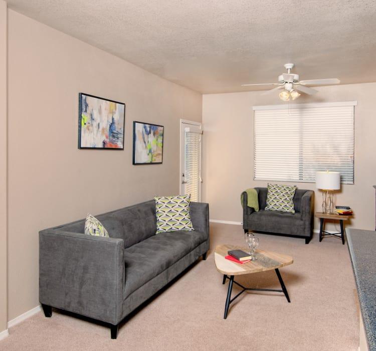 Model living room at Broadstone Desert Sky