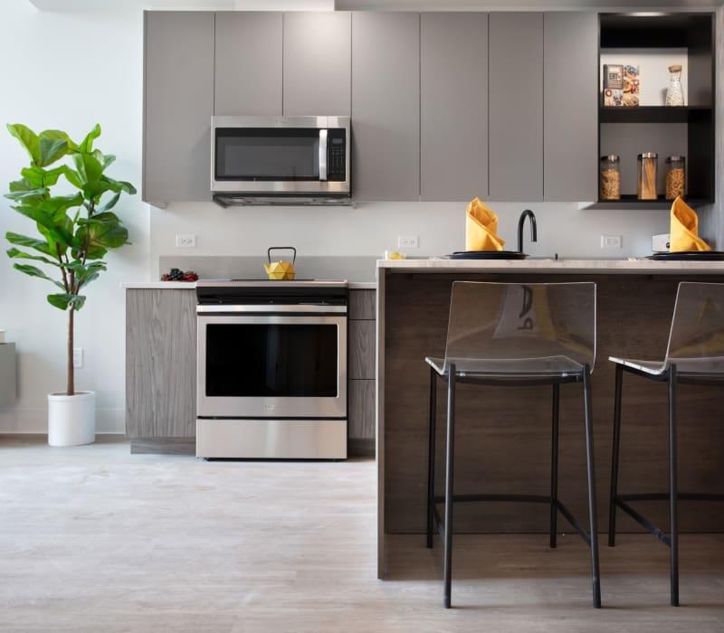 Kitchen and island at Arthaus Apartments in Allston, Massachusetts