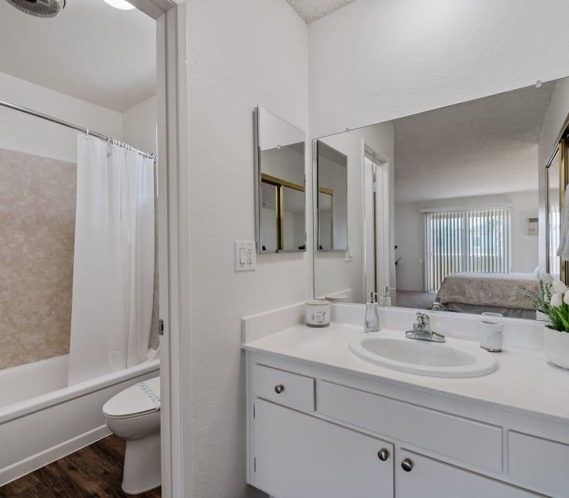 A spacious bathroom at The Terrace in Tarzana, California