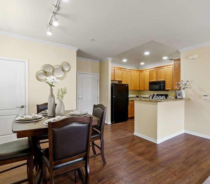 Spacious living and dining areas at The Villagio in Northridge, California
