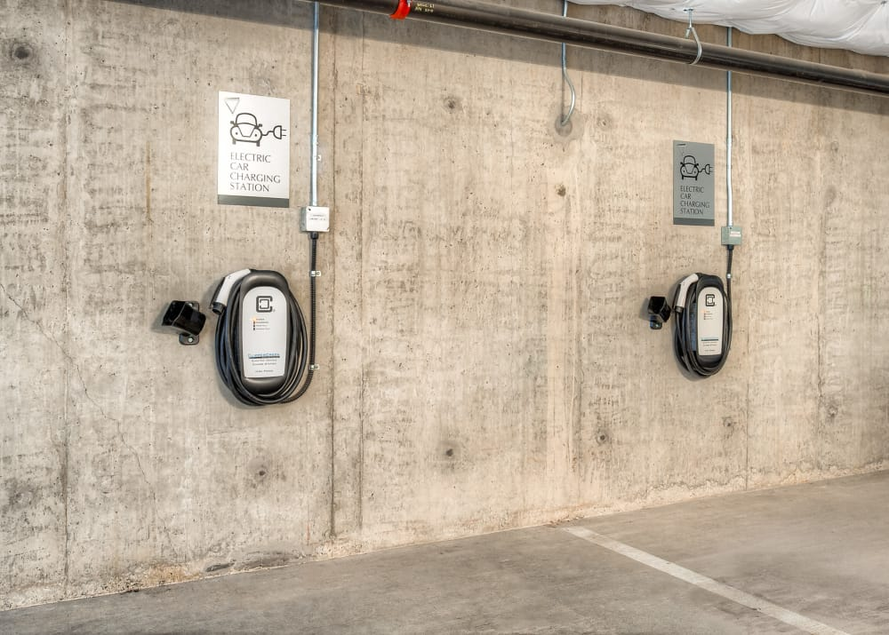 Electric vehicle parking at Tria Apartments in Newcastle, WA