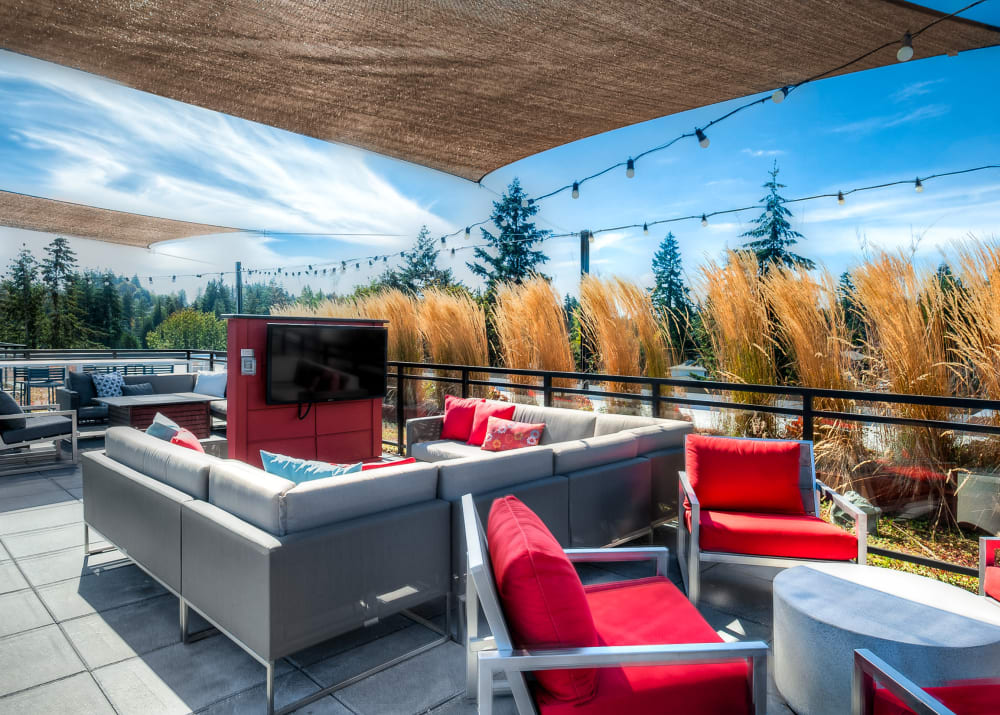 Rooftop lounge and views at Tria Apartments in Newcastle, WA