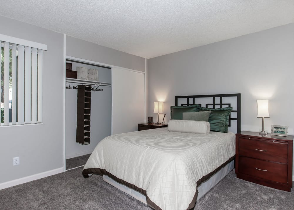 A relaxing model bedroom at Avery Park Apartments