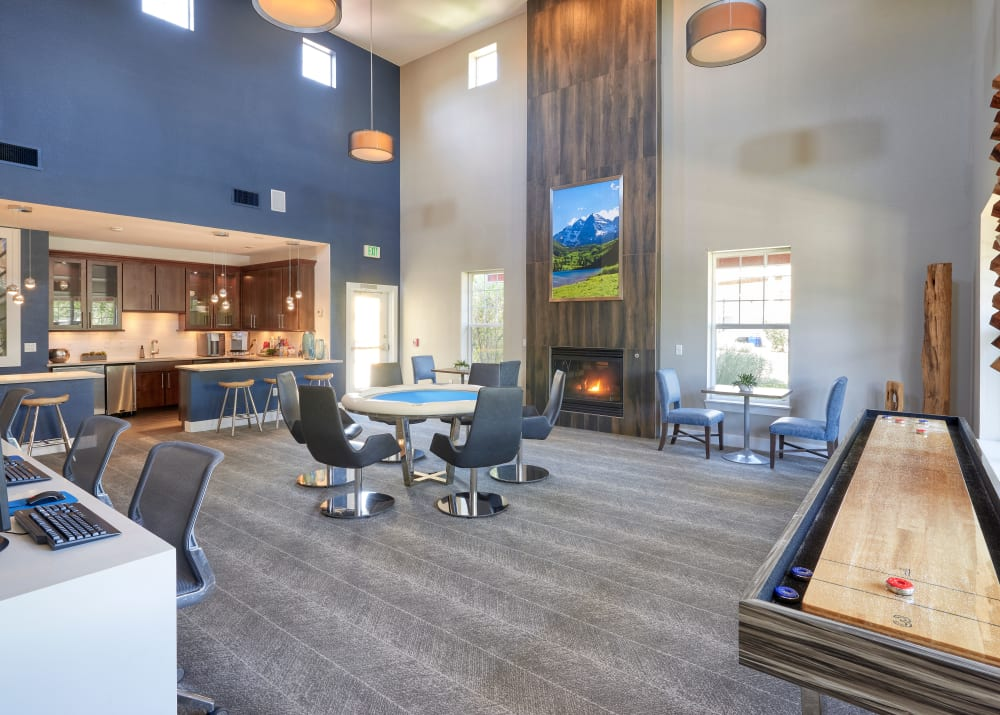 Interior clubhouse lounge and game room