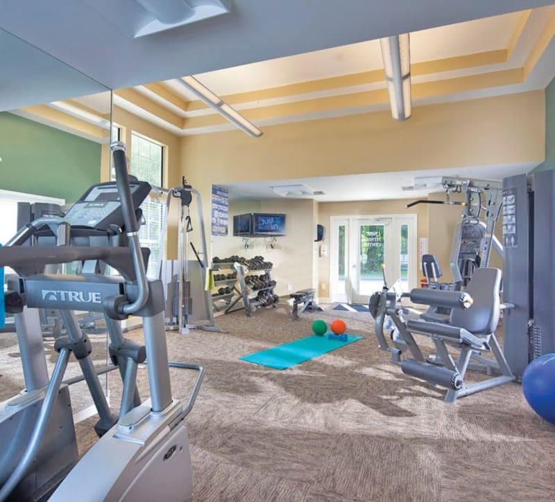The onsite fitness center at The Commons At Haynes Farm in Shrewsbury, Massachusetts