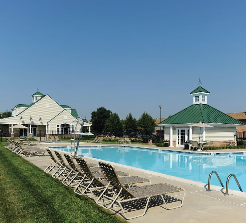 Poolside seating at Golf Club Apartments in West Chester, Pennsylvania